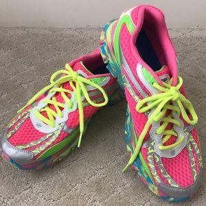 EUC Skechers Sport neon colors cross trainer shoes